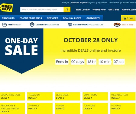 Best Buy One-Day Sale (Oct 28)