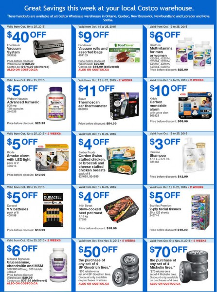 Costco Weekly Handout Instant Savings Coupons East (Oct 19-25)