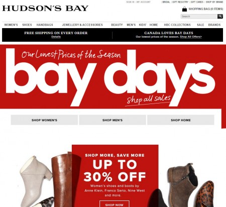 Hudson's Bay Bay Days - Lowest Prices of the Season