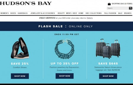 Hudson's Bay Flash Sale - 68 Off Samsonite Luggage Set and 25 Off Comfort Shoes (Oct 7)