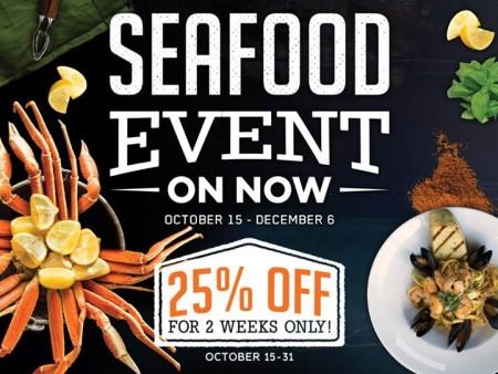 Milestones Seafood Event - 25 Off Seafood Menu (Oct 15-31)
