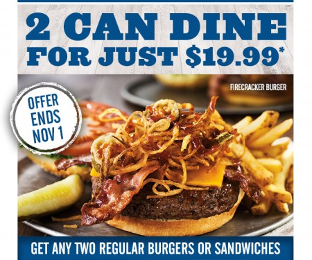Montana's BBQ and Bar 2 Can Dine for $19.99 (Until Nov 1)