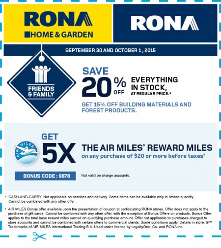 RONA Friends & Family - 20 Off Everything in Stock Coupon (Sept 30 - Oct 1)