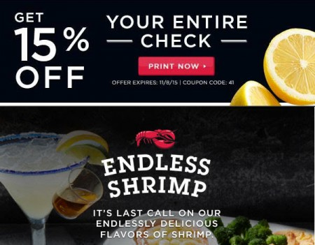 Red Lobster Get 15 Off Your Entire Check (Oct 27 - Nov 8)