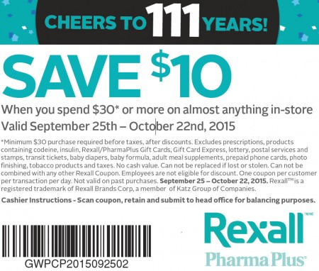 Rexall $10 Off When you Spend $30 Coupon (Until Oct 22)