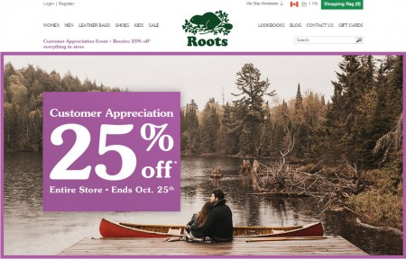 Roots Customer Appreciation - 25 Off Entire Store (Oct 22-25)