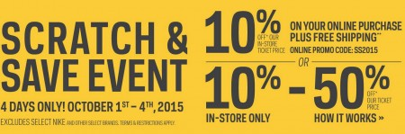 Sport Chek Scratch and Save Event (Oct 1-4)