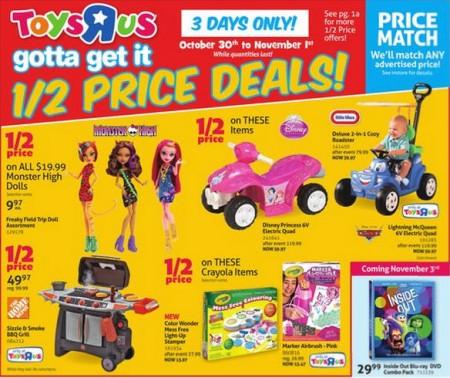 Toys R Us Half Price Deals (Oct 30 - Nov 1)
