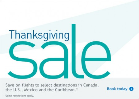 WestJet Thanksgiving Sale (Book by Oct 13)