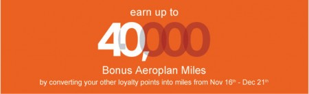 Aeroplan Earn up to 40,000 Bonus Miles for Converting Points (Nov 16 - Dec 21) A