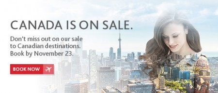 Air Canada Canada is on Sale (Book by Nov 23)