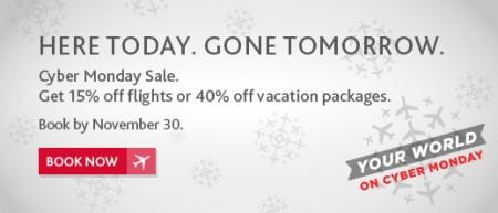 Air Canada Cyber Monday Sale - 15 Off Flights Promo Code (Book by Nov 30)