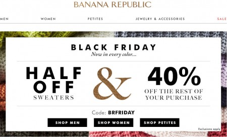 Banana Republic Black Friday - 50 Off Sweaters & 40 Off the Rest of Your Purchase (Nov 26-27)