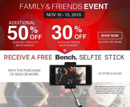 Bench Family & Friends Sale - 30 Off Regular Priced Items, Extra 50 Off Sale Items (Nov 10-15)