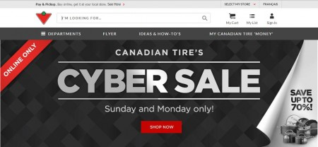 Canadian Tire Cyber Monday Sale (Nov 30)