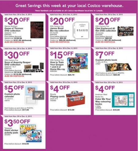 Costco Black Friday Offers - Weekly Handout Instant Savings Coupons (Nov 26-Dec 6)