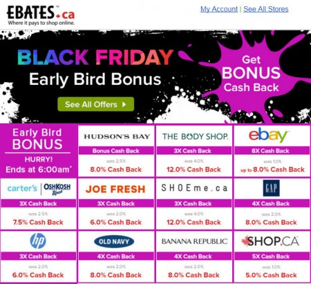 Ebates Black Friday Sale - Double Cash Back at over 200 Stores
