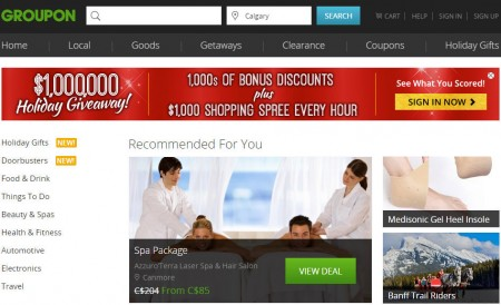 GROUPON $1,00,000 Holiday Giveaway - 1,000's of Bonus Discounts + $1,00 Shopping Spree Every Hour (Nov 5-7)