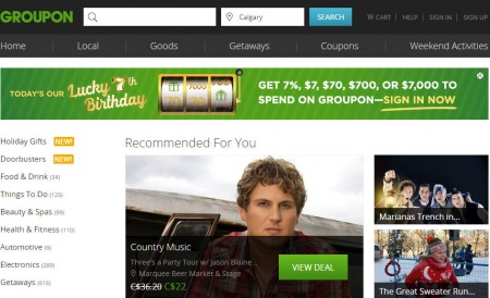 GROUPON Lucky 7th Birthday - Get 7, $7, $70, $700 or $7,000 to spend on Groupon (Nov 13)