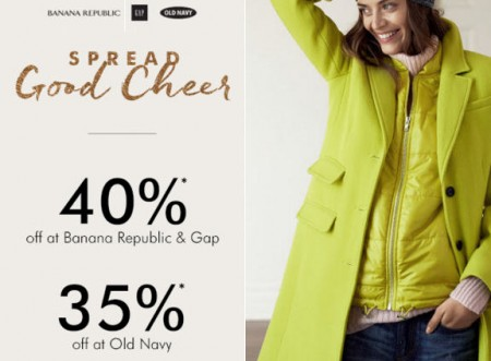 Gap & Banana Republic 40 Off Entire Purchase, and 35 Off at Old Navy (Nov 10-11)