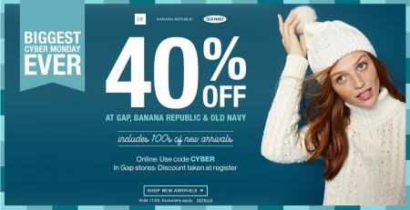 Gap, Banana Republic, Old Navy Cyber Monday - 40 Off Online Purchase Promo Code (Nov 30)