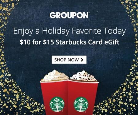 HOT DEAL GROUPON – $10 for $15 Starbucks Card eGift (33 Off)