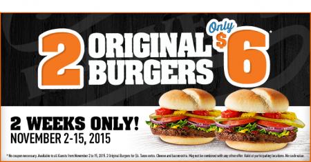 Harvey's 2 Original Burgers for only $6 (Nov 2-15)