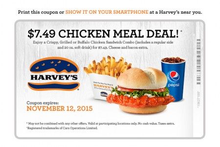 Harvey's $7.49 Chicken Meal Deal Coupon (Until Nov 12)