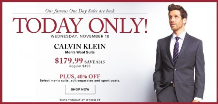 Hudson's Bay One Day Sales - $179.99 for Calvin Klein Men's Wool Suits (Nov 18)