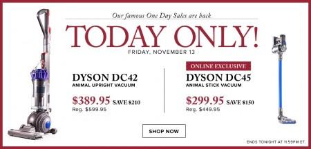 Hudson's Bay One Day Sales - $389.95 for Dyson DC42 Animal Upright Vacuum (Nov 13)