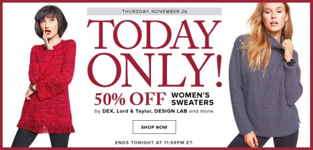 Hudson's Bay One Day Sales - 50 Off Women's Sweaters (Nov 26)
