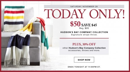 Hudson's Bay One Day Sales - $50 for Hudson's Bay Collection Signature Stripe Throw - Save $45 (Nov 28)