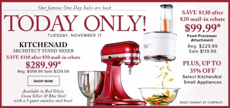 Hudson's Bay: One Day Sales - Up to 52% Off KitchenAid Stand Mixer on whirlpool corporation, kenwood limited, amana corporation, hamilton beach brands, sunbeam products, kenwood chef,