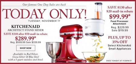 Hudson's Bay One Day Sales - 52 Off KitchenAid Stand Mixer (Nov 17)