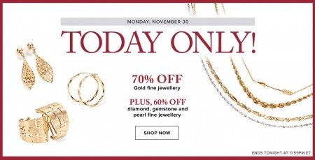 Hudson's Bay One Day Sales - 70 Off Gold Fine Jewellery (Nov 30)