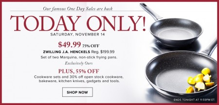 Hudson's Bay One Day Sales - 75 Off Set of Two Marquina Non-Stick Frying Pans (Nov 14)