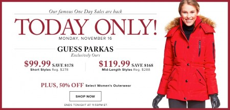 Hudson's Bay One Day Sales - Save up to 64 Off Guess Parkas (Nov 16)