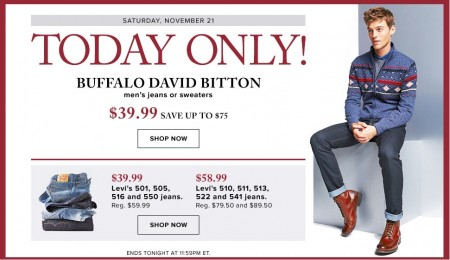 Hudson's Bay One Day Sales - Save up to 65 Off Buffalo David Bitton Men's Jeans or Sweaters (Nov 21)