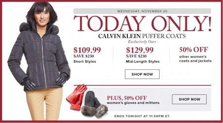 Hudson's Bay One Day Sales - Up to 68 Off Calvin Klein Buffer Coats (Nov 25)