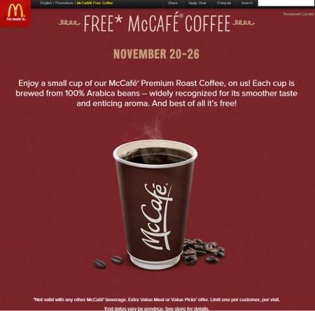 McDonalds FREE McCafe Coffee (Nov 20-26)