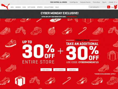 PUMA Cyber Monday Sale - Up to 30 Off + Extra 30 Off Promo Code + Free Shipping (Nov 30)