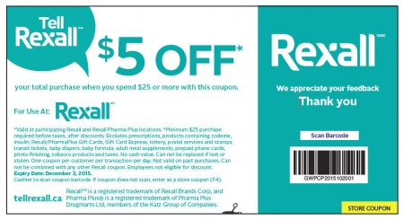 Rexall $5 Off Coupon When you Spend $25 (Until Dec 3)