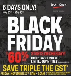 Sport Chek Black Friday Sale - Doorcrashers up to 60 Off (Nov 25 - 30)