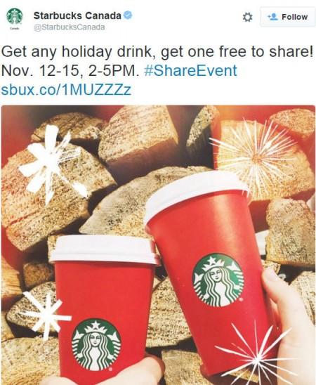 Starbucks BOGO - Buy One Holiday Drink, Get One Free (Nov 12-15, 2-5pm)