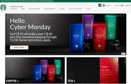 Starbucks Store Cyber Monday - $25 Off Orders Over $60 + Free Shipping (Nov 30)