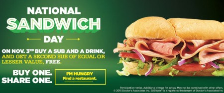 Subway National Sandwich Day - Buy a Sub and Drink, Get 2nd Sub Free (Nov 3)