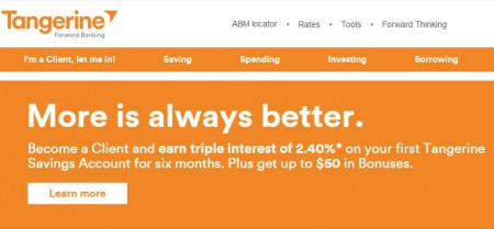 Tangerine Bank FREE $50 Sign-Up Bonus + Earn Triple Interest of 2.40 (Until Dec 31)