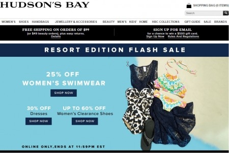 TheBay.com Flash Sale - 25 Off Women's Swimwear, 30 Off Dresses, Up to 60 Off Clearance Shoes (Nov 11)