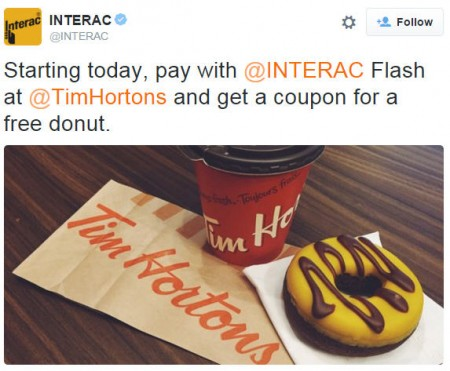 Tim Hortons FREE Donut Coupon with Interac Flash Payment (Until Nov 17)