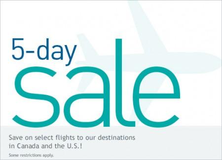 WestJet 5-Day Seat Sale (Book by Nov 9)